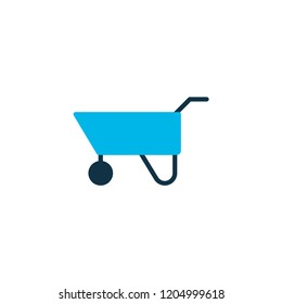 Pushcart icon colored symbol. Premium quality isolated wheelbarrow element in trendy style.
