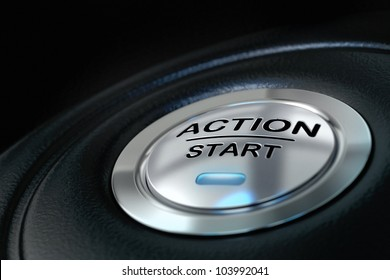 pushed action start button over black background, blue light, motivation concept