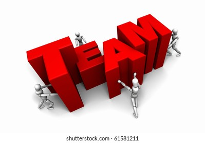 Pushing Together letters to form the Word TEAM