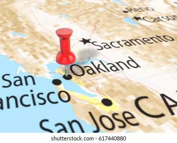 Pushpin on Oakland map background. 3d illustration.