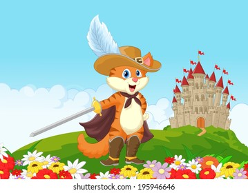 Puss in boots with castle background