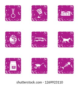 Pussycat icons set. Grunge set of 9 pussycat icons for web isolated on white background