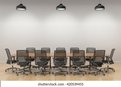 Put your creation in this empty area. Parquet on the floor, a conference table in an empty room. 3D illustration.