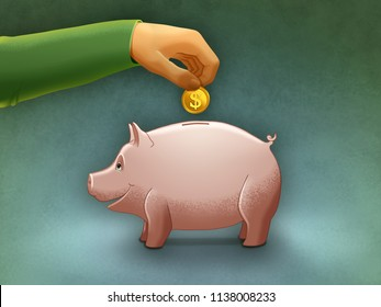 Putting a coin into a piggy bank. Digital illustration.