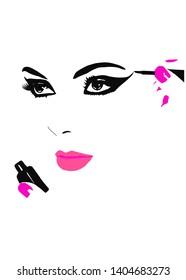 Putting on make up logo. Put on make up. Putting on make -up.