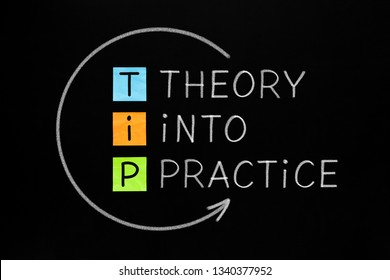 Putting Theory Into Practice TIP acronym arrow concept handwritten with white chalk on blackboard.