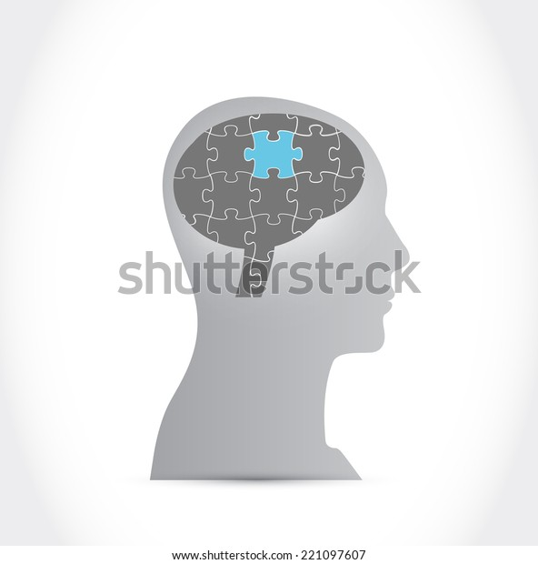 puzzle brain illustration design over a white background