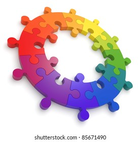 Puzzle Color Wheel 3D.