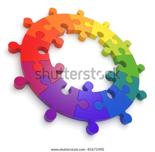 Puzzle Color Wheel 3D.