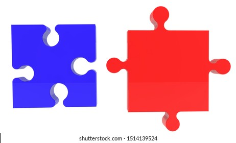 Puzzle Connection concept in blue and red colors.3d illustration