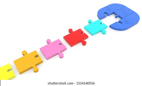 Puzzle Connection concept in various colors on white.3d illustration