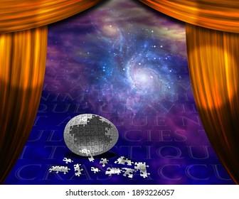 Oeuf de puzzle dans la scène spatiale surréaliste. Rendu 3D
