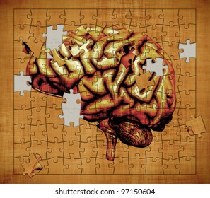 A puzzle features the image of a human brain - depicts the mystery of human consciousness. Digitally manipulated 3d render.