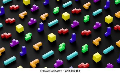 puzzle funny pattern 3D illustration