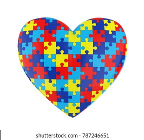 Puzzle Heart Autism Awareness Isolated. 3D rendering