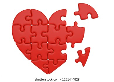 Puzzle heart isolated on white background 3D illustration.