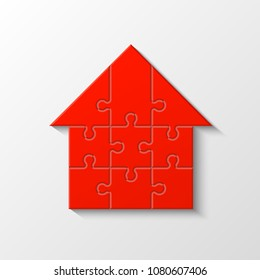 Puzzle house presentation. Home kit banner. Infographic template with explanatory text field for business statistics illustration