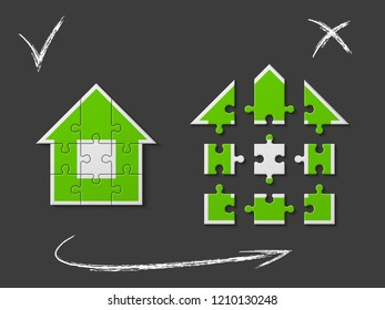 Puzzle house presentation. Home puzzles kit banner. Infographic template with explanatory text field for business statistics. puzzle building illustration. Nine pieces home game set