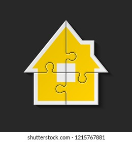 Puzzle house presentation. Home puzzles kit banner. Infographic template with explanatory text field for business statistics. puzzle building illustration. Four pieces puzzle infograph home