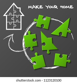 "Puzzle house presentation. Kit ""Make your home"". Infographic template with explanatory text field for business statistics illustration"