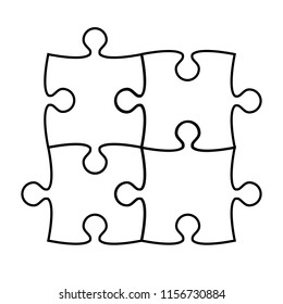 Puzzle icon silhouette on white, stock illustration