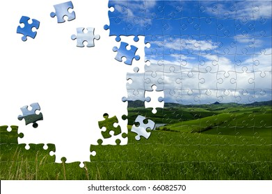 Puzzle with image of a panorama with lost pieces inside