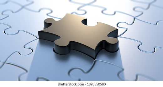 Puzzle jigsaw last piece black color on white background. One tile out, fit in, problem solved concept, business presentation. 3d illustration