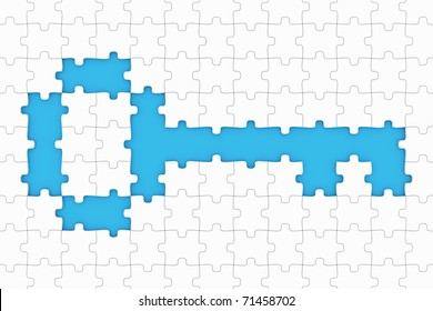 Puzzle with missing pieces in the shape of a key