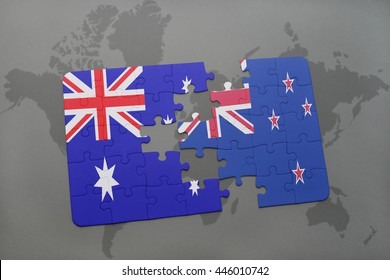 puzzle with the national flag of australia and new zealand on a world map background.3D illustration
