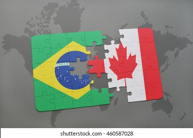 puzzle with the national flag of brazil and canada on a world map background. 3D illustration