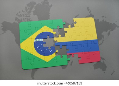 puzzle with the national flag of brazil and colombia on a world map background. 3D illustration