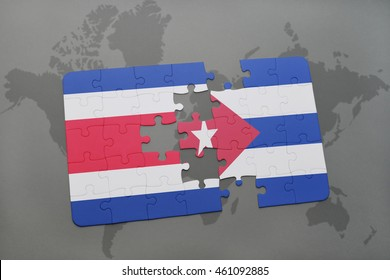 puzzle with the national flag of costa rica and cuba on a world map background. 3D illustration