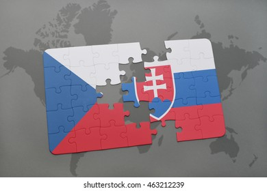 puzzle with the national flag of czech republic and slovakia on a world map background. 3D illustration