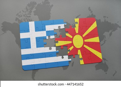 puzzle with the national flag of greece and macedonia on a world map background. 3D illustration