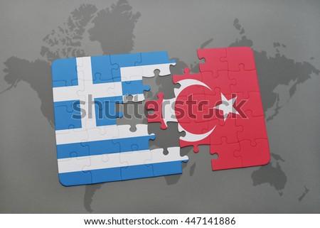 Puzzle National Flag Greece Turkey On Stock Illustration - Royalty ...