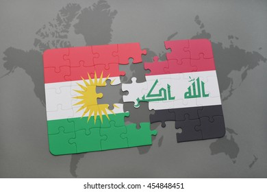 puzzle with the national flag of kurdistan and iraq on a world map background. 3D illustration