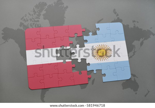 puzzle with the national flag of latvia and argentina on a world map background. 3D illustration