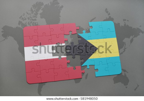 puzzle with the national flag of latvia and bahamas on a world map background. 3D illustration