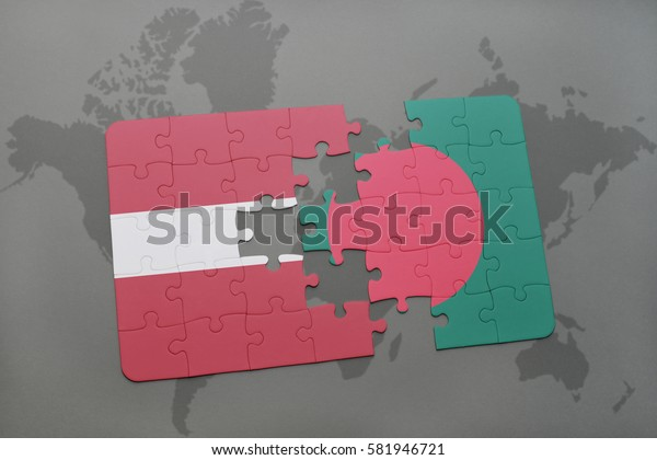 puzzle with the national flag of latvia and bangladesh on a world map background. 3D illustration
