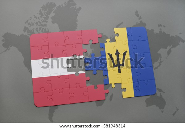 puzzle with the national flag of latvia and barbados on a world map background. 3D illustration