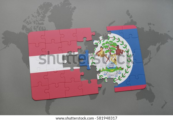 puzzle with the national flag of latvia and belize on a world map background. 3D illustration