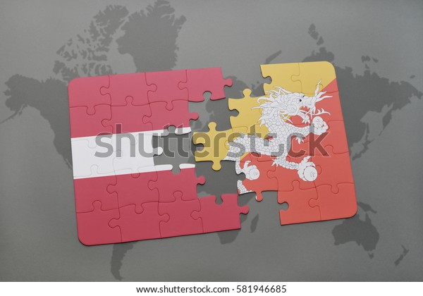 puzzle with the national flag of latvia and bhutan on a world map background. 3D illustration
