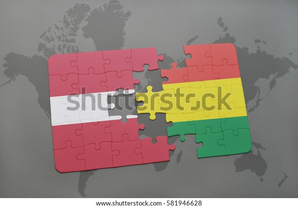 puzzle with the national flag of latvia and bolivia on a world map background. 3D illustration