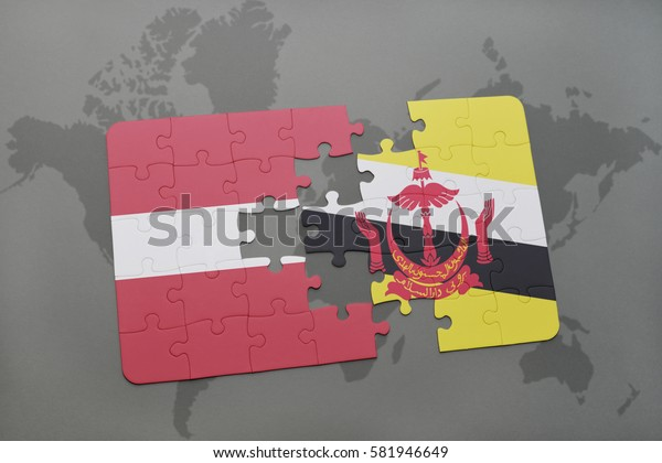 puzzle with the national flag of latvia and brunei on a world map background. 3D illustration