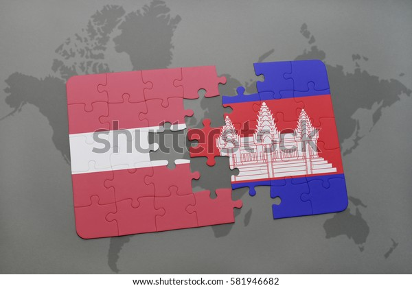 puzzle with the national flag of latvia and cambodia on a world map background. 3D illustration
