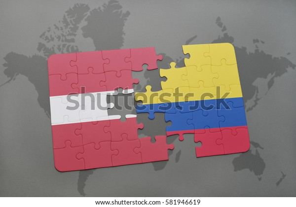 puzzle with the national flag of latvia and colombia on a world map background. 3D illustration