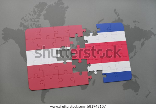 puzzle with the national flag of latvia and costa rica on a world map background. 3D illustration