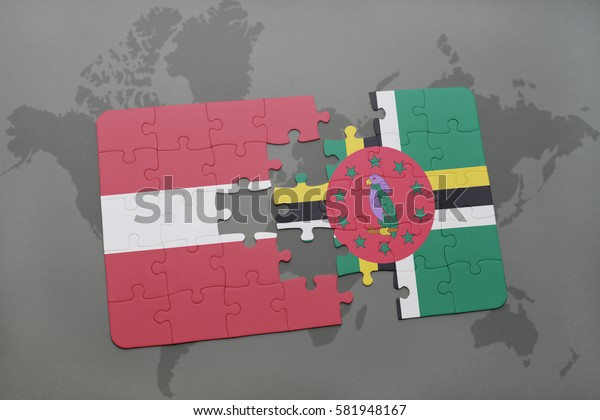 puzzle with the national flag of latvia and dominica on a world map background. 3D illustration
