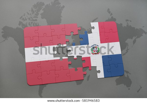 puzzle with the national flag of latvia and dominican republic on a world map background. 3D illustration