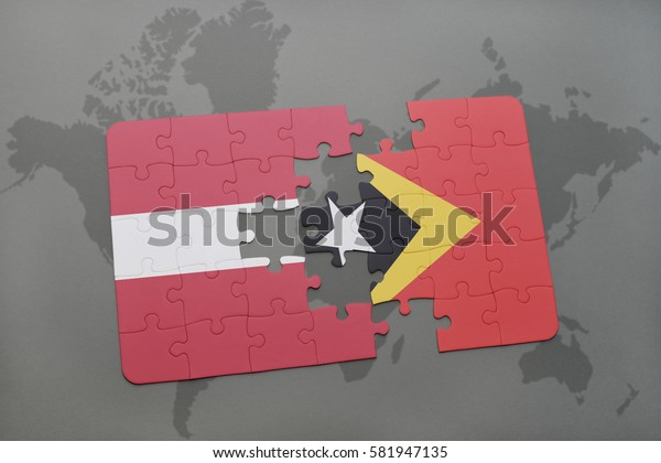 puzzle with the national flag of latvia and east timor on a world map background. 3D illustration
